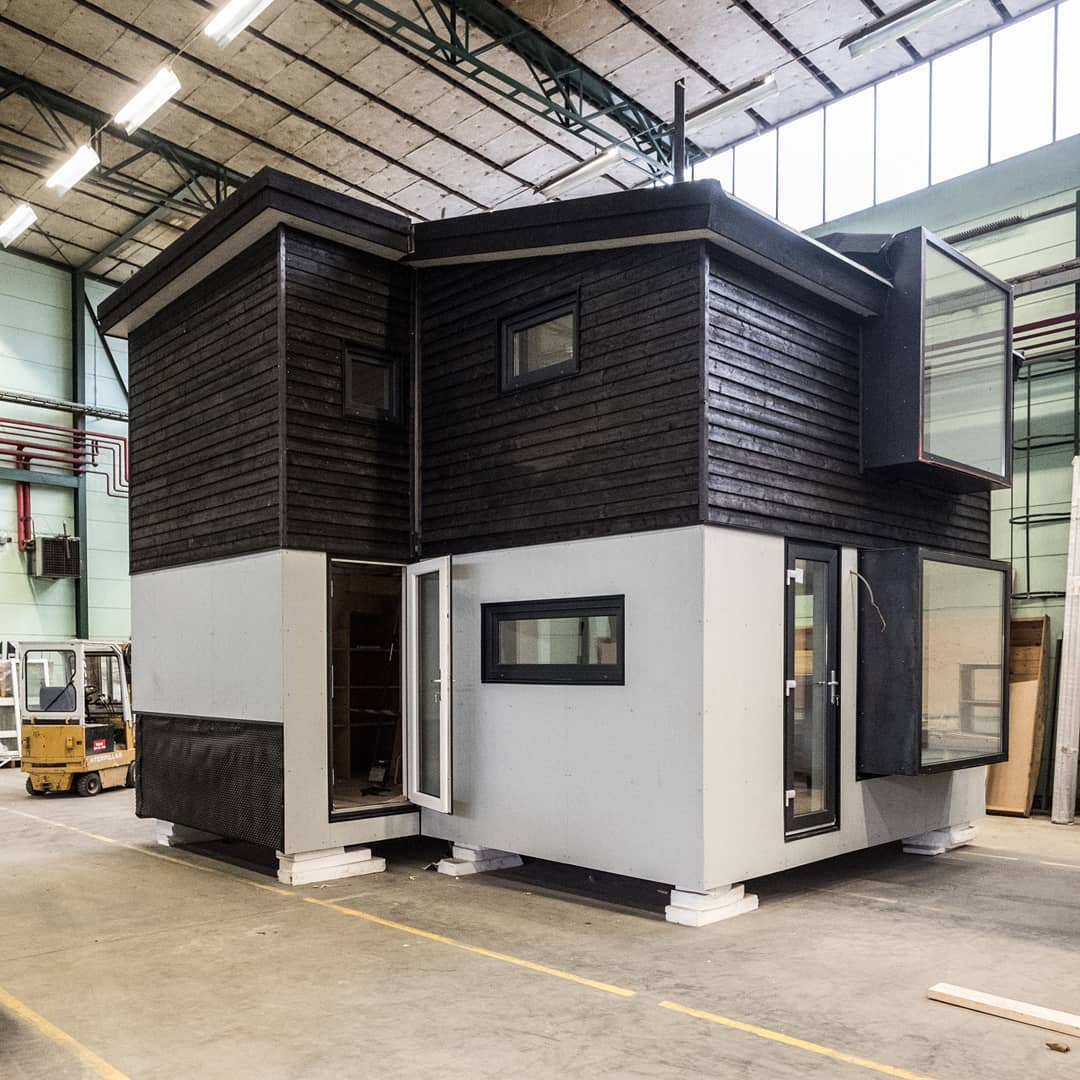 Our 2 story micro-house called Gotland plus. Dug down one meter, it complies with our swedish building requirements for a permit free house of 25 sq meters and maximum height of 4 meters. It is made in 4 modules and can be shipped on one truck (in Sweden) 66500 euros plus transport and installation