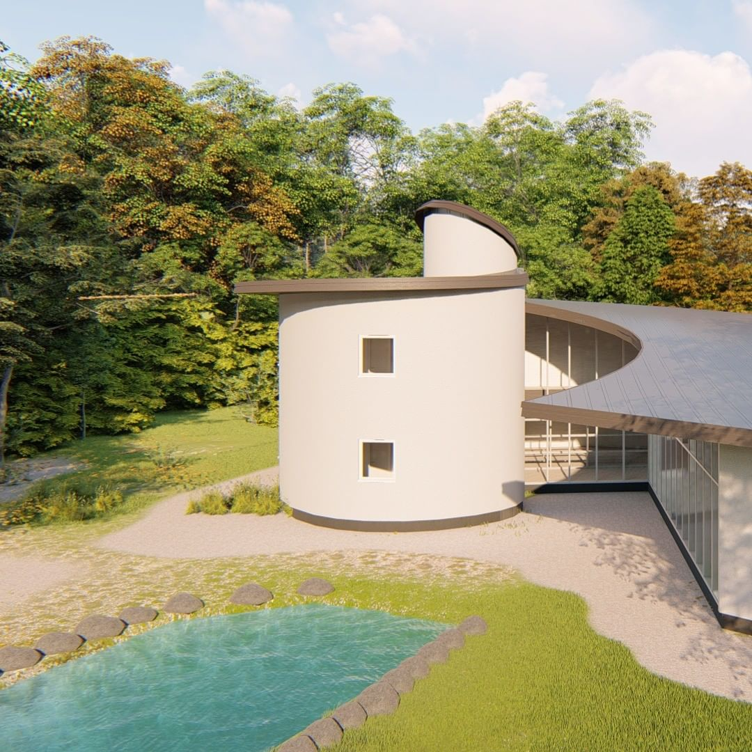 Spiral house rendering now completed, send a mail to kenton@prefabark for serious inquiries